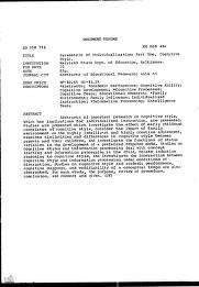 ERIC - ERIC ED058716: Parameters of Individualization: Part One, Cognitive Style.