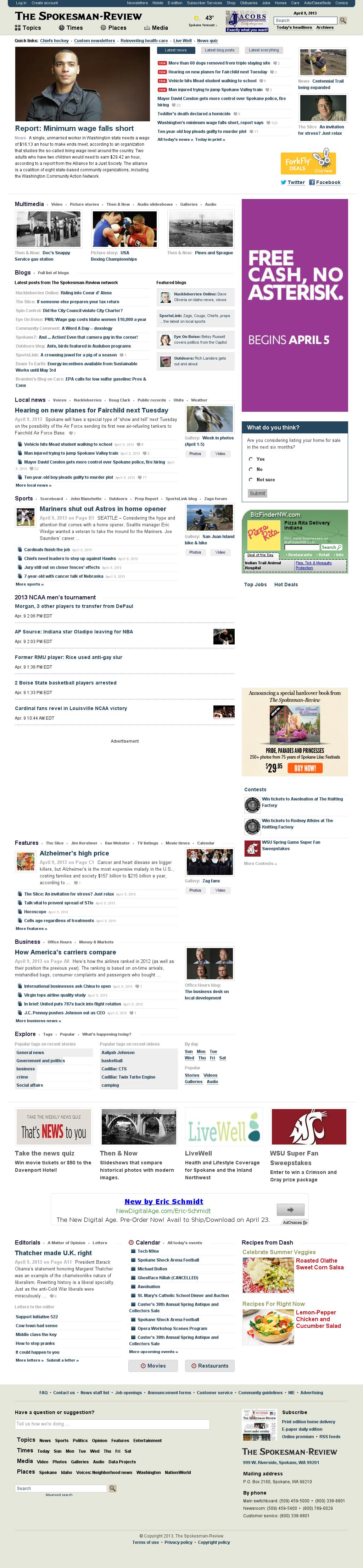 The (Spokane) Spokesman-Review at Tuesday April 9, 2013, 6:21 p.m. UTC